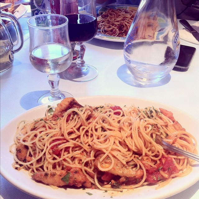 Spaghetti and fresh fish
