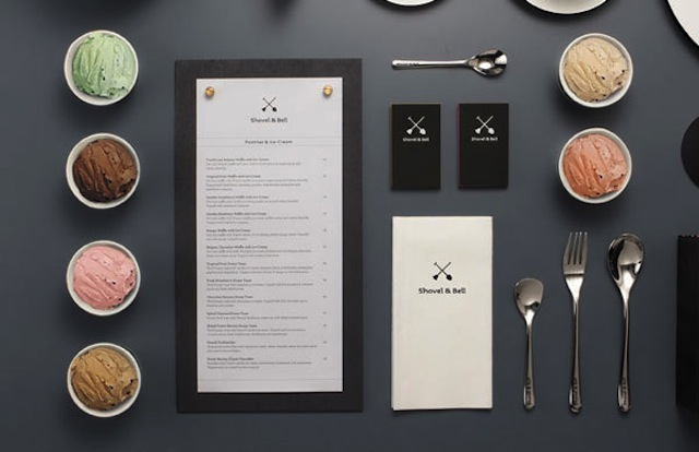 menu design Shovel & Bell